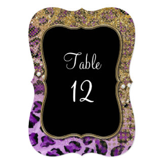 Table Numbers Purple Gold Leopard Pattern Personalized Invitation