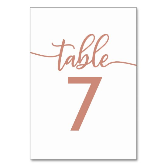Table Numbers | Rose Gold Copper Wedding