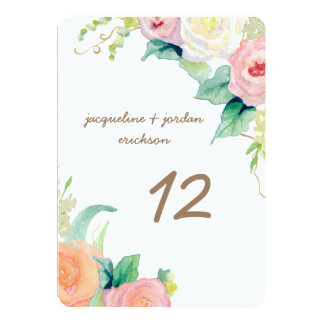 Table Numbers Simple Modern Watercolor Roses Card