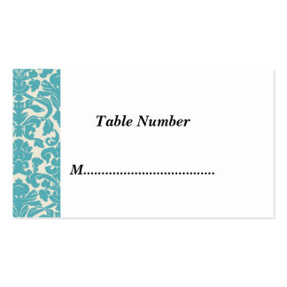 Table Numbers Teal Damask Business Card