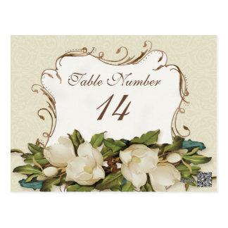 Table Numbers Vintage Magnolia Swirls Damask Card