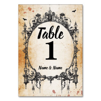Table Numbers Wedding Gothic Frame Halloween Cards