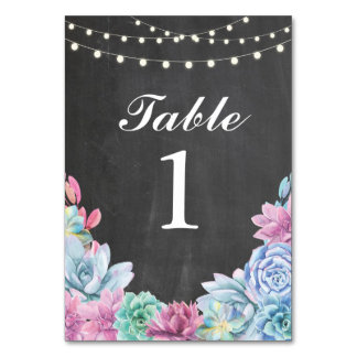 Table Numbers Wedding Succulents Chalk Cards