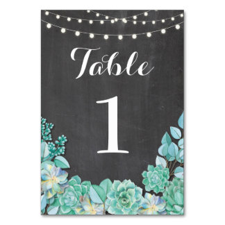 Table Numbers Wedding Succulents Rustic Chalk