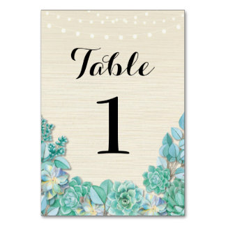 Table Numbers Wedding Succulents Rustic Mint Cards