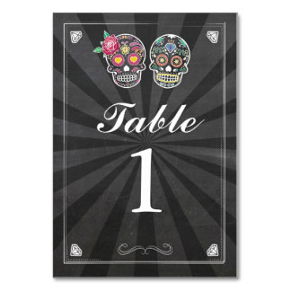 Table Numbers Wedding Sugar Skull Chalk Cards