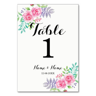 Table Numbers Wedding Watercolour Rose Flowers