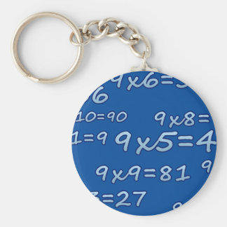 TABLE OF 9 - 9 TIMES TABLE - BLUE - BLUE BASIC ROUND BUTTON KEYCHAIN