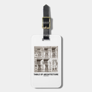 Table Of Architecture (Different Column Forms) Bag Tag