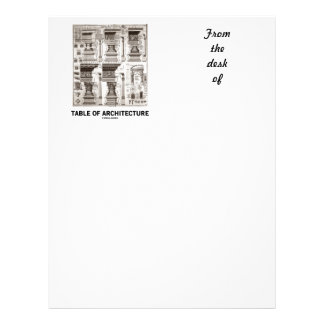 Table Of Architecture (Different Column Forms) Letterhead