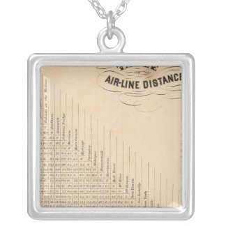 Table of distances silver plated necklace