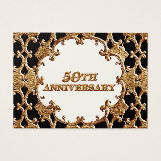 Table Place Card  - Golden French Swirl 50th Anniv
