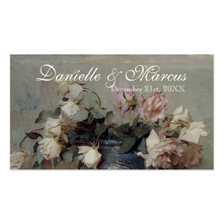 Table Place Card  - Impressionist Cream Pink Roses Double-Sided Standard Business Cards (Pack Of 100)