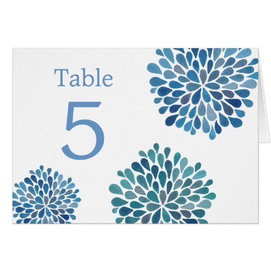 Table Place Cards Blue Watercolor Dahlias Wedding