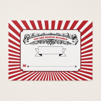 Table # Place Cards Circus Red