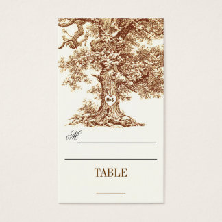 table place cards - escort cards with tree