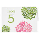 Table Place Cards Pink Green Blooms Wedding