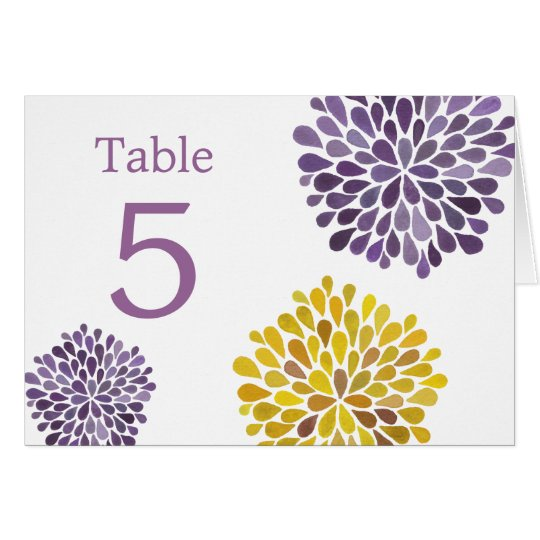 Table Place Cards Purple Yellow Dahlia Flowers