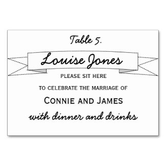 Table Place Name for Wedding Card