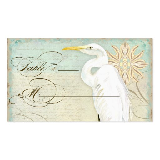 Table Place Setting Card Great Egret Coastal Beach
