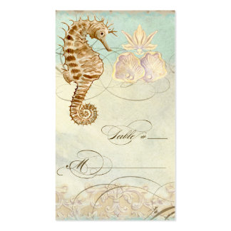 Table Place Setting Card Sea Horse Coastal Beach Double-Sided Standard Business Cards (Pack Of 100)