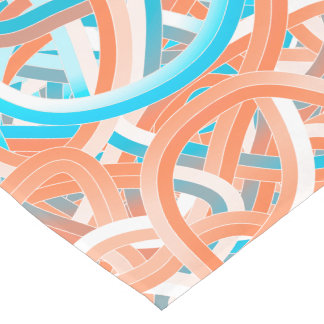 Table Runner, Turquoise&Coral Colored Tangle Short Table Runner