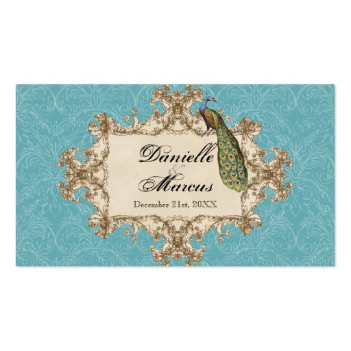 Table Seating - Blue Vintage Peacock & Etchings Business Card