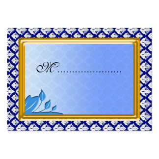Table Seating Card Art Nouveau Blue Damask Business Card