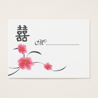 Table Seating Card Cherry Blossom Double Happiness