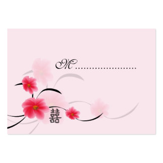 Table Seating Card Pink Blossom Double Happiness Business Card Template