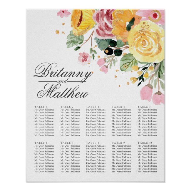 Table Seating Elegant Floral | Seating Charts