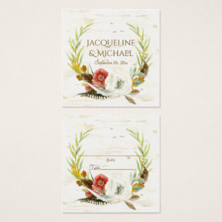 Table Seating Escort Fall Leaf Wreath Floral BOHO Square Business Card