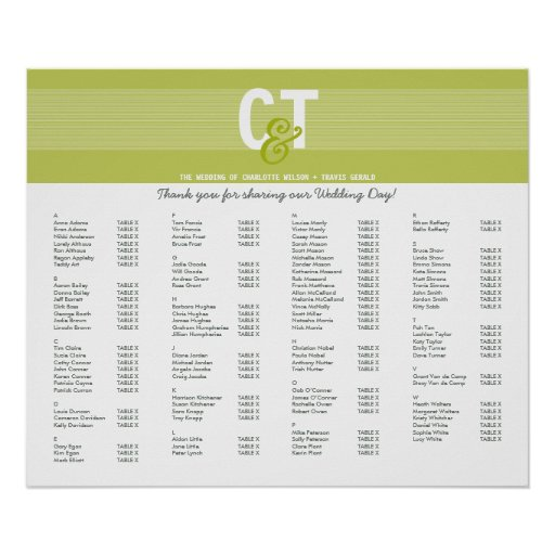 TABLE SEATING PLAN CHART :: modline 3 Poster