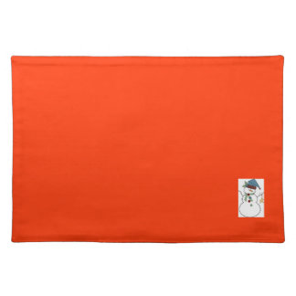 Table staff smiled Christma red with winter reason Cloth Place Mat