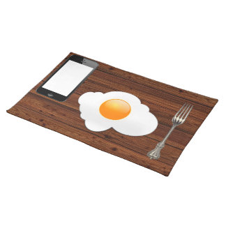 Table telephone egg and fork cloth placemat
