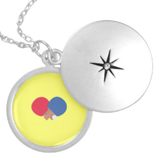 table tennis bat and ball round locket necklace