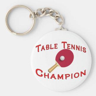 Table Tennis Champion Basic Round Button Keychain