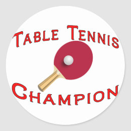 Table Tennis Champion Classic Round Sticker