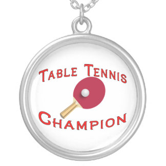 Table Tennis Champion Silver Plated Necklace
