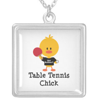 Table Tennis Chick Sterling Silver Necklace
