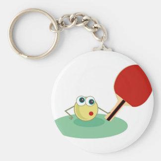 Table Tennis Basic Round Button Keychain