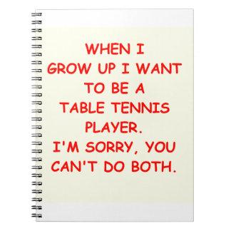 table tennis spiral notebook