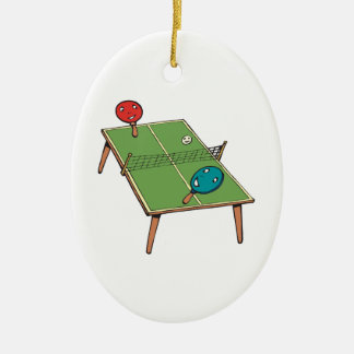 Table Tennis Double-Sided Oval Ceramic Christmas Ornament