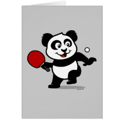 Cute Table Tennis Panda Greeting Card
