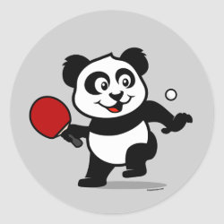 Round Sticker with Cute Table Tennis Panda design