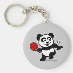 Basic Button Keychain with Cute Table Tennis Panda design