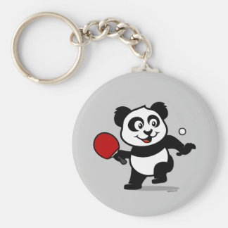Table Tennis Panda Basic Round Button Keychain