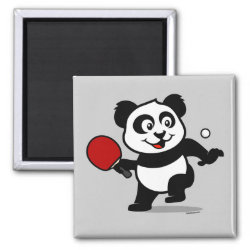 Square Magnet with Cute Table Tennis Panda design