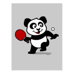 Postcard with Cute Table Tennis Panda design