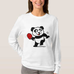 Women's Basic Long Sleeve T-Shirt with Cute Table Tennis Panda design